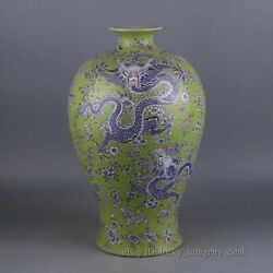 Beautiful Chinese Antique Green Glaze Famille Rose 5 Dragons Porcelain big Vase