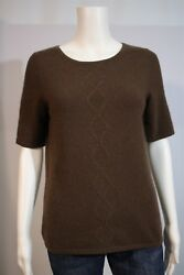 Nordstrom Studio 121 Misses SMALL Brown 100% Cashmere SS Sweater Shirt Top