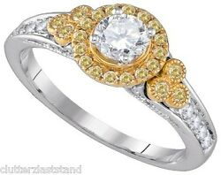 14k .78Ct Yellow Canary Diamond .40Ct Solitaire Bridal Ring Sze 7 White Gold New