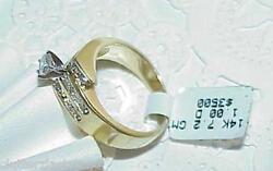 14k 1.00Ct Diamond Solitaire Diamond Side Ring New wtag Size 7.5