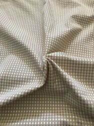 Tan Ivory Woven Gingham Fabric BY THE YARD