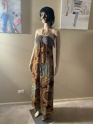 "Ruby Rox New Size S Boho Maxi Dress Length 56"" Necktied $25.00"