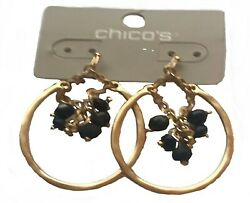 CHICO'S AMELIA BLACK AND JET HOOP(PIERCED)EARRINGS--NEW WITH TAG