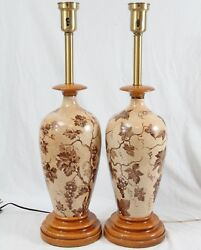 Hand Painted Grape Vine Ceramic Table Lamps Pair Vintage Wood Old World Tuscan $129.99