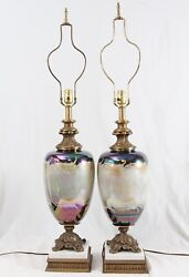 Large Mid Century Glass Urn Table Lamps Pair Vintage Marble Hollywood Regency $339.99