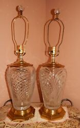 Pair large cut crystal lamps Beautiful with crystal finials $179.00