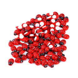 200Pcs Miniature Decorative Wooden 3D Art Ladybird Ladybug Fridge Wall Sticker