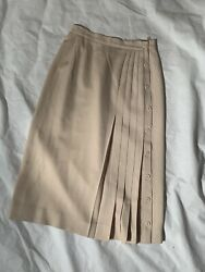 "Talbots Size 4 Ivory Pleated Side Button Down Skirt Length 27"" Wool $19.00"
