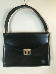 ETRA Vintage Mid Modern Century Square Black Purse 11 x 7 with Strap $14.99