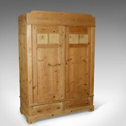Antique French Wardrobe Pine Compactum Cupboard Circa 1900