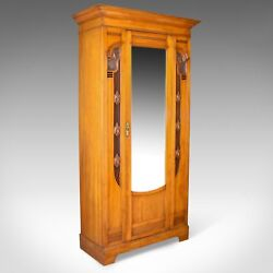 Antique Single Wardrobe Satinwood English Compactum Art Nouveau Circa 1920