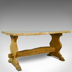 Antique Refectory Dining Table English Farmhouse Elm Victorian Circa 1900