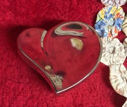 Stylized Heart Silverplate Jewelry Trinket Box Red Lining Nice Curved Design
