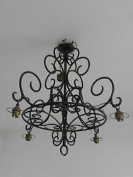 old Gothic Ceiling Light Candle Rustic Forged hand wrought Castle Manor house