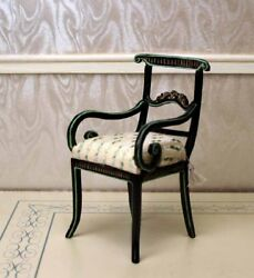 Black Desk Chair Hand Painted MUSEUM QUALITY DOLLHOUSE FURNITURE 112 1
