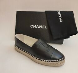 NIB CHANEL ESPADRILLES cambon loafers dress SHOES and dust bag sz 38 and 39