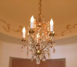 FRENCH ANTIQUE CHANDELIER PLATED 24K GOLD WITH DAUM DE FRANCE CRYSTALS
