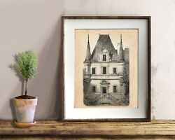 French Country Decor French Chateau Architecture Drawing Unframed Art Print no.1 $12.00