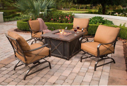 5-Pc Outdoor Patio Chairs Set W Sunset Cushion Rockers LP Square Firepit New