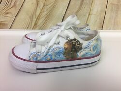 CONVERSE Chuck Taylor All Star Toddlers Girls Custom Sneakers Size 7 White $19.99
