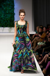 Couture Evening Gown Hand Dyed Green Embellished with Peacock Feathers   2 4 6 8