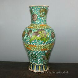 Large Chinese Antique Green Glaze Famille Rose Color Porcelain Vase with Mark