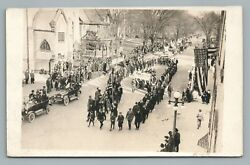 """Parade """"100% for Associated War Fund"""" RPPC Antique WWI Booster Riding 1910s"""