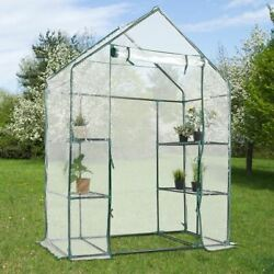 Durable 4 Shelves Metal Mini Outdoor Portable Greenhouse wClearing Covering