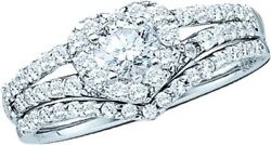 14K .76Ct Diamond Heart Solitaire Band & Ring White Gold Bridal Wedding  New Sz7
