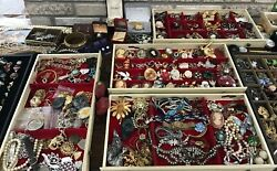 Vintage 11 Pounds Costume Jewelry Designer 925 Brooches Watches Rings Nec