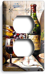 FRENCH AGED WINE BOTTLE CHEESE GRAPES BREAD OUTLET COVER PLATE KITCHEN ART DECOR $10.99
