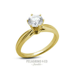 2.13 CT H-SI1 Excellent Round AGI Natural Diamond 14ky Gold Cathedral Ring 3.8mm
