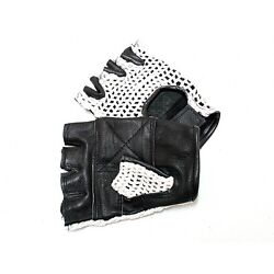 LEATHER FINGERLESS GLOVES WEIGHT TRAINING GYM DRIVING CYCLING WHEELCHAIR👀😎 $8.99