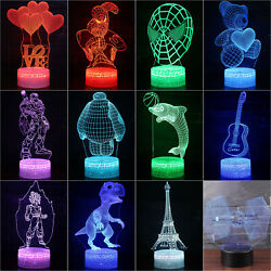 Home Decor 3D illusion Visual Night Light 7 Colors LED Desk Table Lamp Bedroom $13.49