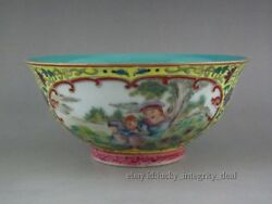 Rare Chinese Porcelain Famille Rose Enamel Green Glaze Bowl.Mother and child