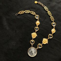 GIANNI VERSACE Gold-tone Belt Necklace Glass Hearts & Glass embossed Medusa disc