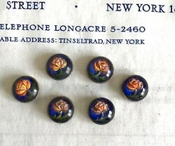 6 pcs Vintage Antique Early 1900#x27;s Handpainted Floral Buttons Metal Backing $10.00