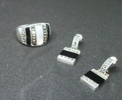 Sterling  Mother-Of-Pearl  Onyx Marcasite  Ring  & Earrings Sz 7