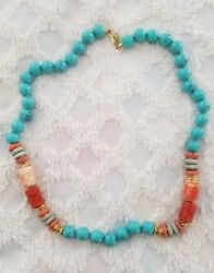 Vintage Italian Made in Italy Necklace Lucite Turquoise Orange Gold Bead Links