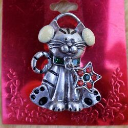 Animated Kitty Cat Pin brooch Sparkling earmuffs with a rhinestone star