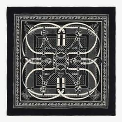 Hermes Carre 140 Shawl Stole Scarf Grand Manege Bandana Cashmere Silk Black New