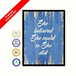 She Believed She Could So She Did Framed Canvas Blue Quote Housewarming Office