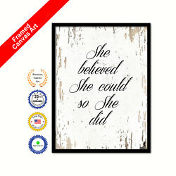 She Believed She Could So She Did Canvas White Quote Office Wall Art Print Gift