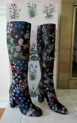 $2145 VALENTINO-A Thing Of Beauty-Floral Garden Brocade Embtoidered Boots 36.5