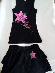 Pink Star Black Cotton Tank Top with Pink Star Black Skirt with Pink Star Large $17.99