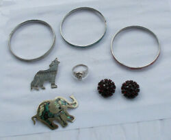 LOT Vintage Jewelry MOP Bracelets Sterling Silver Brooches Ring Dog Elephant NR