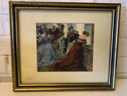 """Antique """"In the Gallery"""" Framed Engraving by Johann Klaus After Adolph Menzel $115.00"""