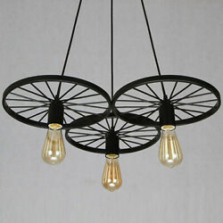 Three Light Industrial Style Wheel Shape LED Light Pendant Decorative Fixtures