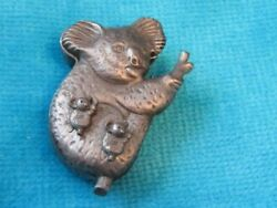 Tiorino Koala Pin Earrings and Necklace Set in Case Pewter Color