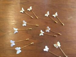 VINTAGE  CARVED MOTHER OF PEARL BUTTERFLY STICK PIN  2 FOR $3.99 SALE